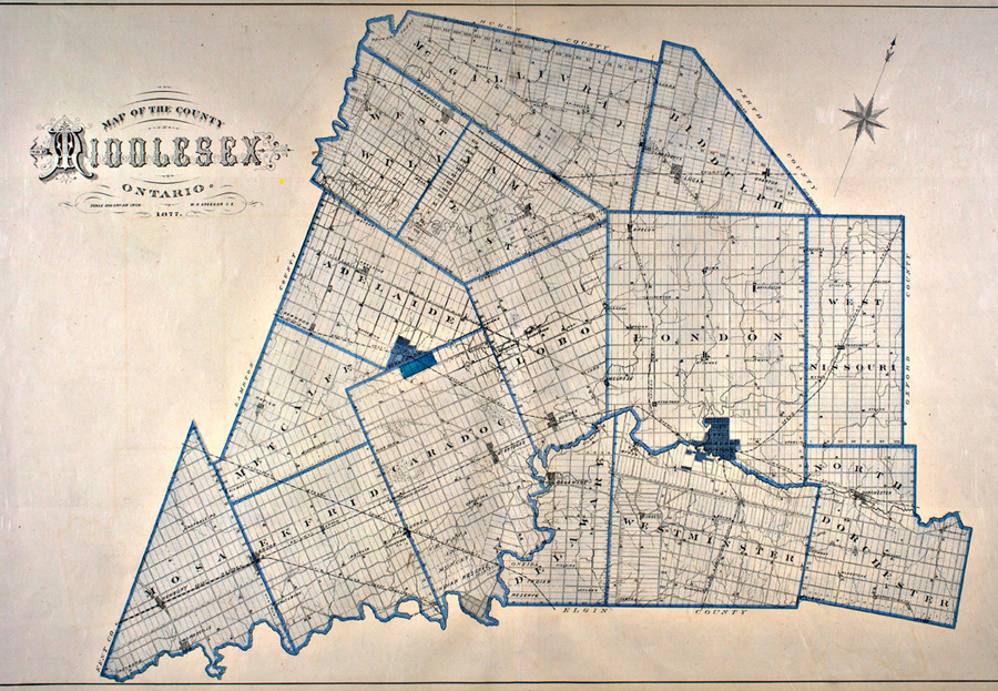 Map of Middlesex County from 1878